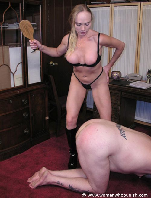 Picture #8 of It is very joyful for the lingerie bitch to sit on top of kneeling femdom slave and to paddle his as with full force