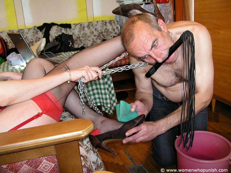 Picture #2 of Bitchy woman assigned dude two tasks: to wash her shoes and to lick her pussy afterwards