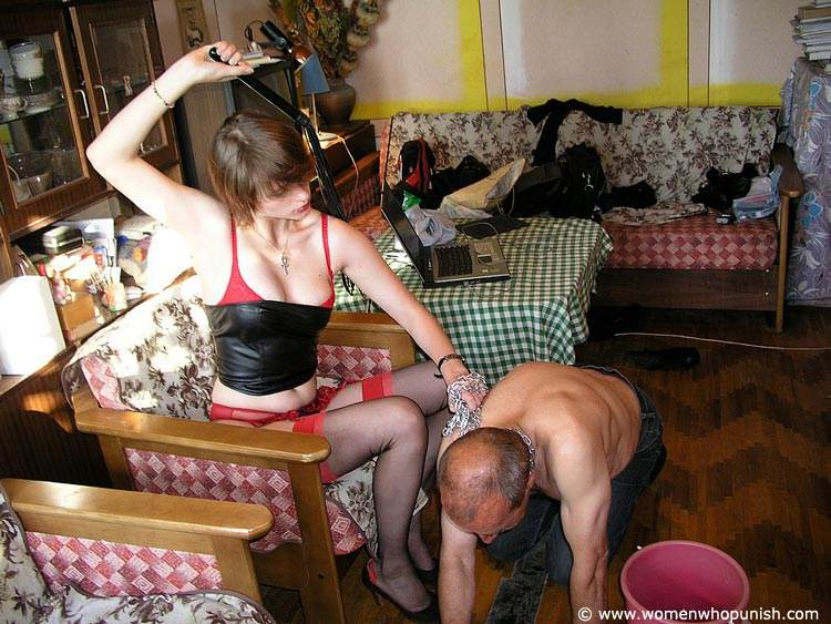 Picture #4 of Bitchy woman assigned dude two tasks: to wash her shoes and to lick her pussy afterwards