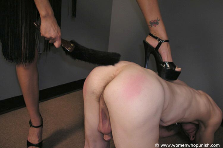 Picture #10 of Latin Goddess is warming up femdom slave with ass spanking while pulling his hair