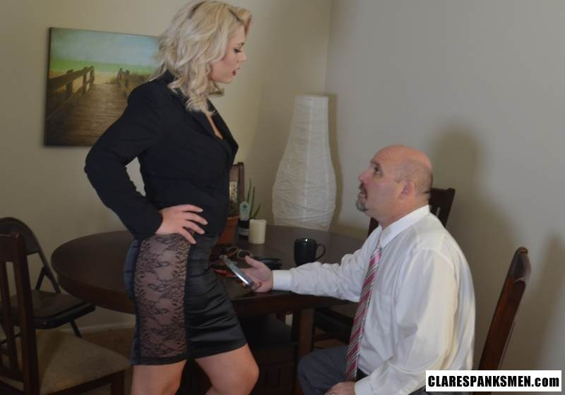 Picture #1 of Bald man is enjoying the humiliation provided by blond goddess by pulling his pants and paddling him hard