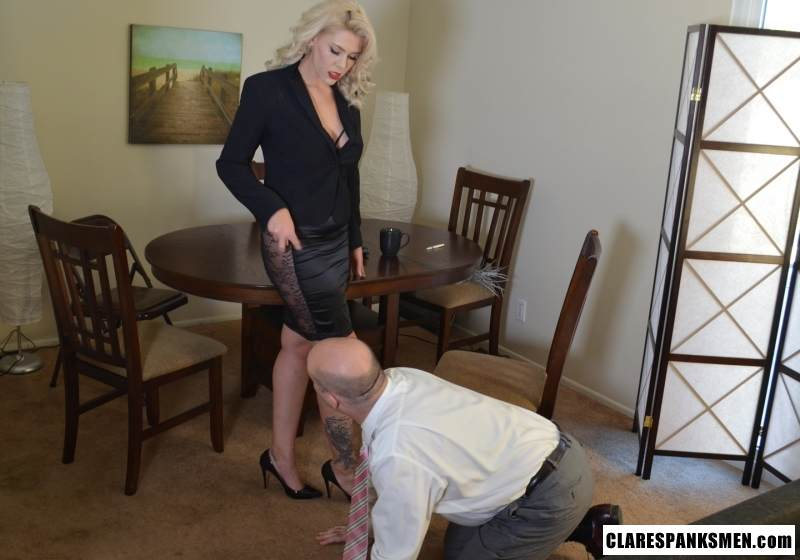 Picture #2 of Bald man is enjoying the humiliation provided by blond goddess by pulling his pants and paddling him hard
