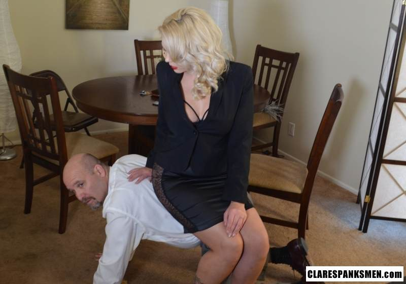 Picture #3 of Bald man is enjoying the humiliation provided by blond goddess by pulling his pants and paddling him hard