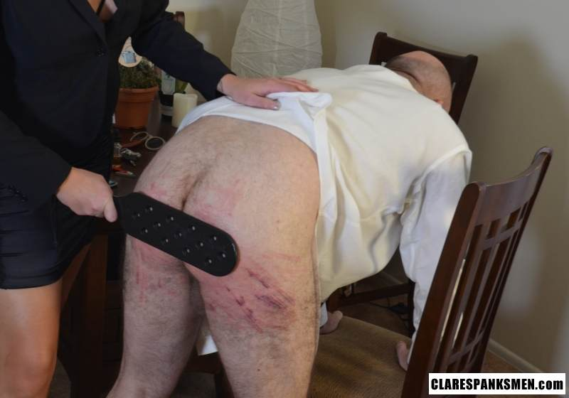 Picture #5 of Bald man is enjoying the humiliation provided by blond goddess by pulling his pants and paddling him hard
