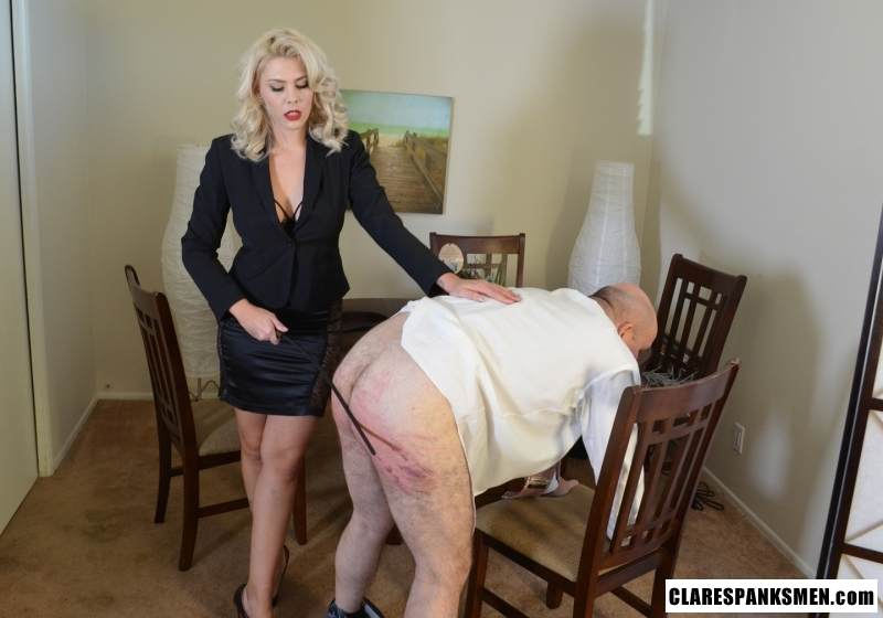 Picture #9 of Bald man is enjoying the humiliation provided by blond goddess by pulling his pants and paddling him hard