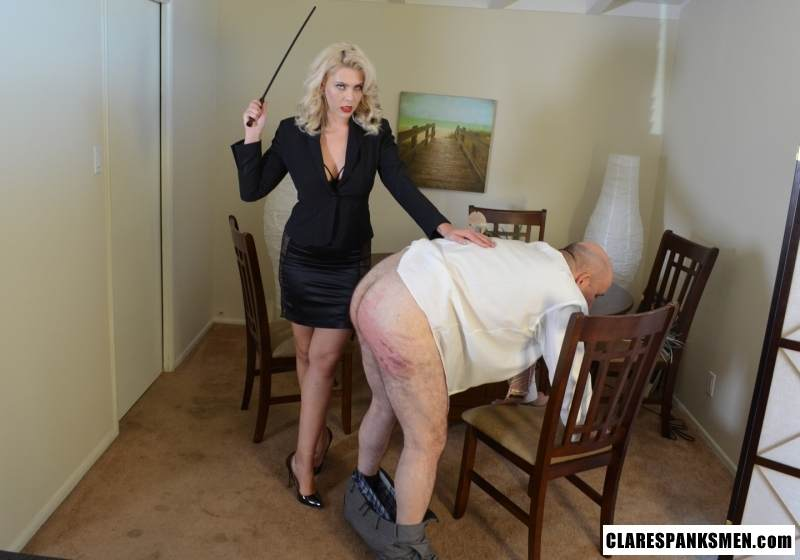 Picture #10 of Bald man is enjoying the humiliation provided by blond goddess by pulling his pants and paddling him hard