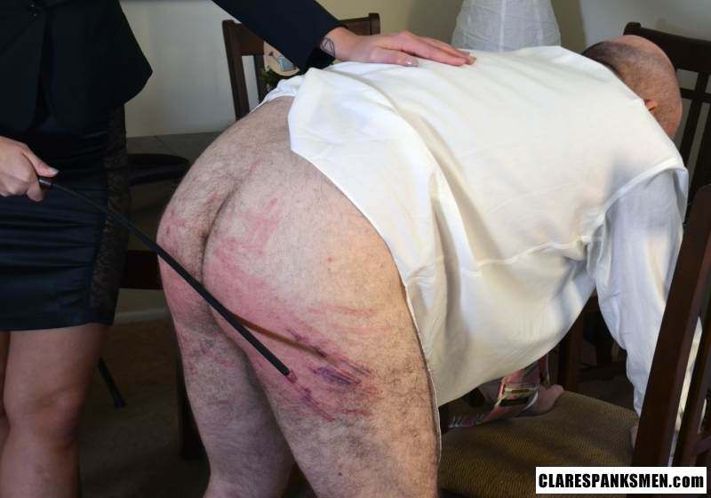 Picture #11 of Bald man is enjoying the humiliation provided by blond goddess by pulling his pants and paddling him hard