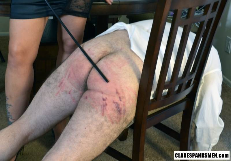 Picture #13 of Bald man is enjoying the humiliation provided by blond goddess by pulling his pants and paddling him hard
