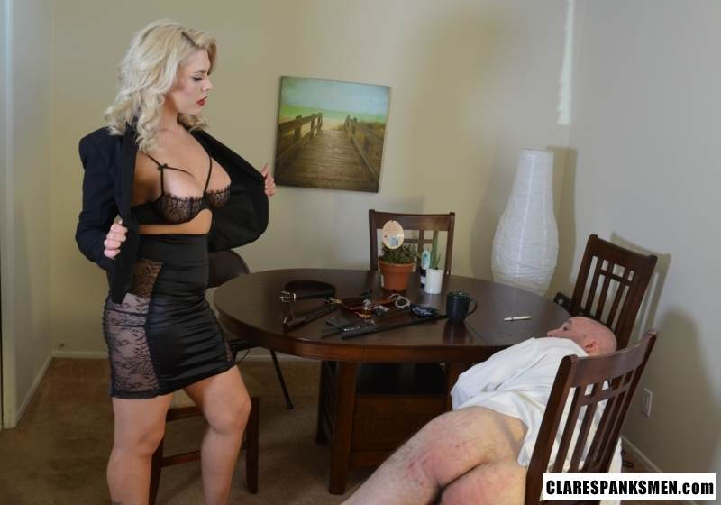 Picture #14 of Bald man is enjoying the humiliation provided by blond goddess by pulling his pants and paddling him hard
