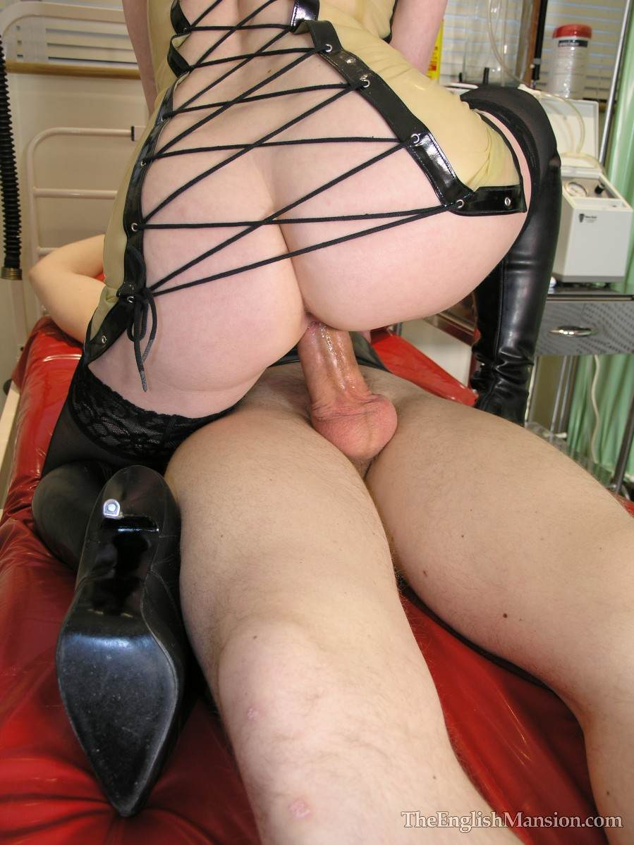 Picture #19 of Medical fetish mistress is keeping male cuffed to bed posts when she is fucking him with her cunt and licking cock but not allowing to cum