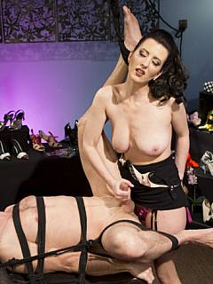 Slutty secretary is taking her boss to the very limits of femdom with tight bondage, degrading exercises and painful toys