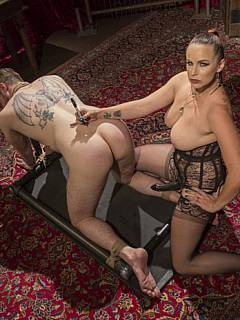 Erotic mistress is combining pain and femdom teasing to make submissive man suffer during extreme BDSM session