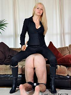 There is a reward for licking mistress leather boots clean: exposed ass paddling and canning