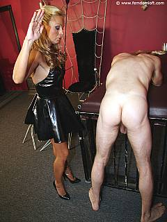 Petite blond spanked nude man nicely the put in spiderweb bondage and tormented his ass with spikes