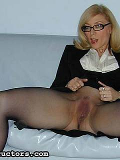 Mature teacher is there to show you how miserable you are and to tease you with her worn-out cunt under the black nylon