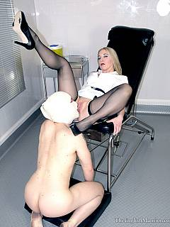 Classy MILF is enjoying medical type of femdom where she is wearing nurse uniform and her cunt get licked by submissive man