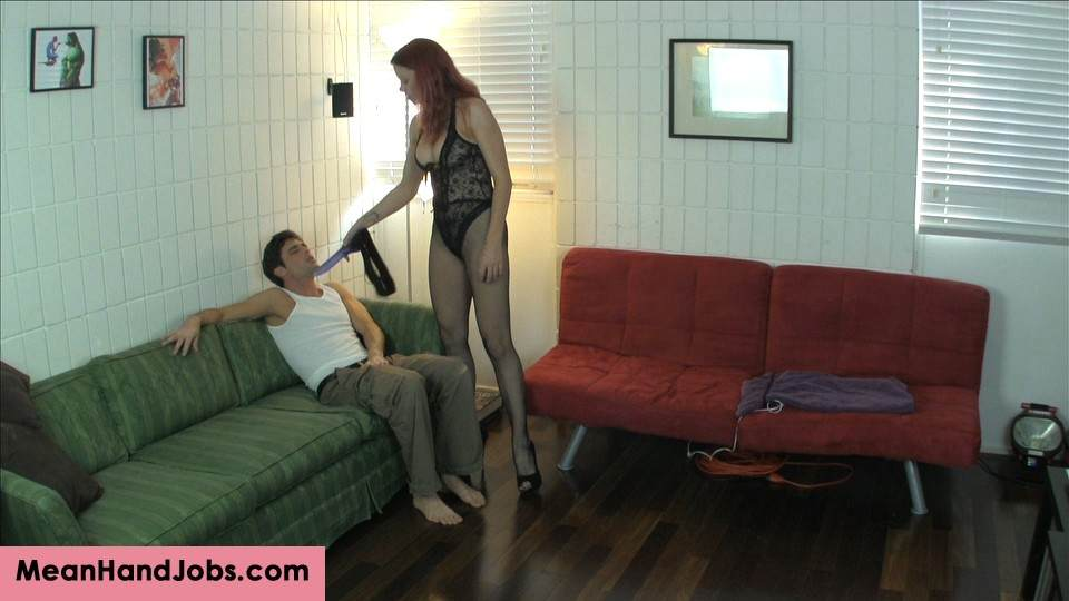 Picture #6 of Teasing redhead kicks man in the balls, pleasures herself with toy and then bangs his ass with a strap-on cock