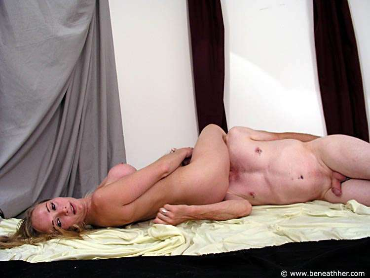 Picture #5 of Dude loves to wrestle with naked blond and to end up underneath her ass
