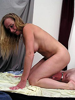 Dude loves to wrestle with naked blond and to end up underneath her ass