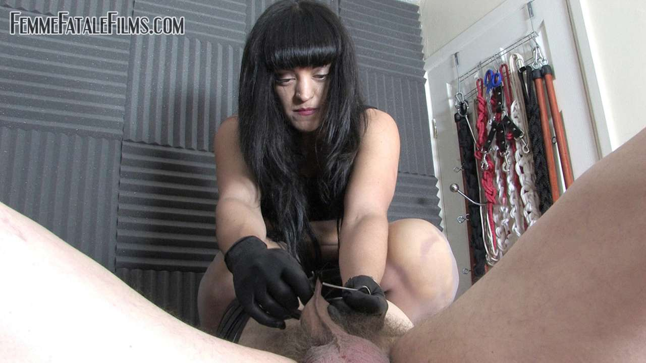 Picture #8 of Man is helpless when exposed in medical chair and cannot stoo bitchy domme tormenting his balls with multiple clothespegs
