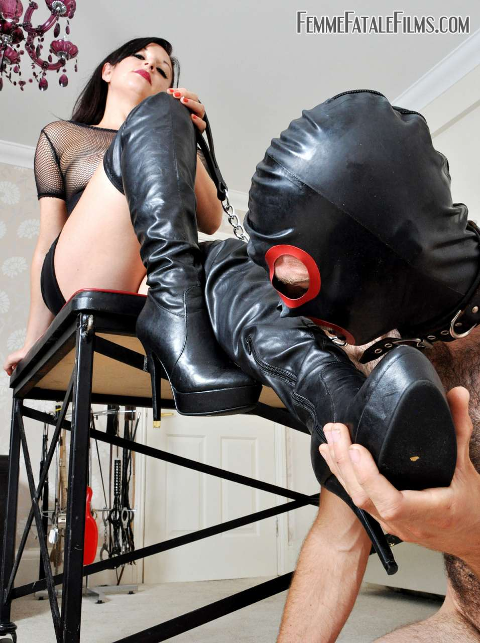 Picture #2 of Deep anal penetration is the reward collared slave having for polishing leather knee-boots