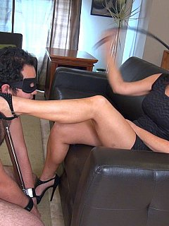 Foot-loving slave is always ready t pleasure his mistress with licking only asking for face slapping in return