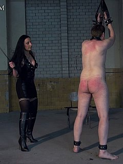 Bitch is enjoying the punishment process where she is whipping naked man while he is helplessly handcuffed