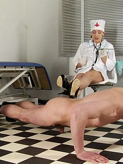 During medical examination men have to strip down and exercise in front of women in uniforms