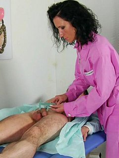 Dude is having his small penis measured and ass prepared for examination