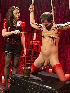 Painful femdom training require man to be on all fours and keep silence while dominatrix fists him and destroys his ass with monster-size strap-on