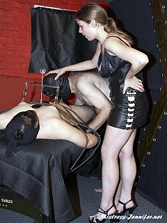 A couple of slaves are introduced to bondage, each-other cock-sucking and monster sex toy anal destruction