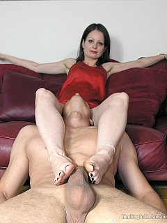 Bald man is there to give a good service to the petite mistress: sucking each and every of the toes and getting some barefoot trampling in reward