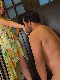 Cuckolding bitch returns home from another date and punishes cock-caged husband with face slapping for not cleaning the house properly