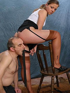 Belonging to young mistress, getting whipped and being dominated are the older man enjoys very much