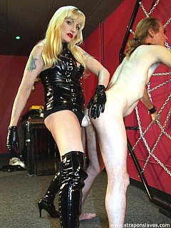 There is no way femdom slave is going to be leaving BDSM chamber without having his ass fucked hard by blonde domme