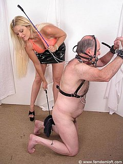 Being harnessed and controlled by a beautiful young blond is the biggest pleasure for an old submissive pervert