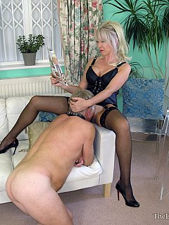 MILF mistress is expecting full service from her slave including pussy licking and cumming onto her feet