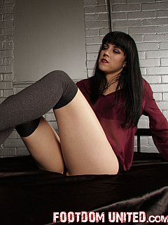 Brunette was wearing those socks for many hours making sure they smell and perfect for sniffing