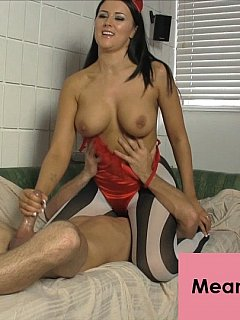 Busty babe in evil costume and striped pantyhose is there to strap-on, tease the cock and not to let submissive dude to ejaculate