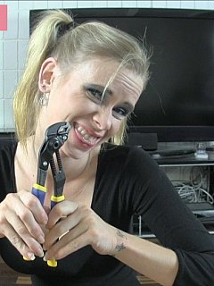 Pretty blond bitch is going to kiss and lick your cock one last time and then use pliers to cut your balls off