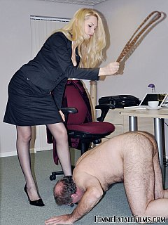 Job interview is not easy with beautiful dominant lady-boss Eleise de Lacy. She is going to strip you down, whip and see if you are suitable for femdom slavery