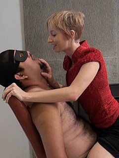 Girl is spitting slave in his mouth and making sure he swallowed each and every drop of her saliva