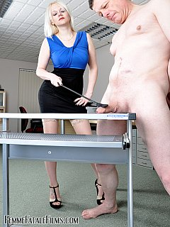 Boss becomes femdom toy in hands of bitchy secretary as she strips him down and punishes cruelly weak manhood