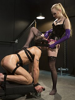 Man is better stay silent and suffer femdom torments when strap-on mistress Delirious Hunter is ding her domination andteasing job