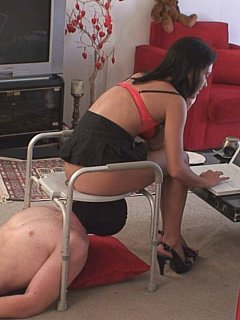 Erotic Goddess put some chocolate into her ass and allowing slave to lick it out and swallow in a queening stool training session