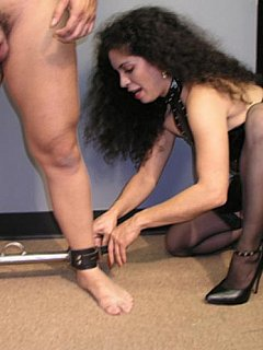 Lanin mistress is abusing cock in many different ways starting with rope bondage, harnessing, balls pulling and using spiked wheel