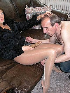 Old man adores the young dominatrix and makes her proud of him when it comes to blowing rubber cock