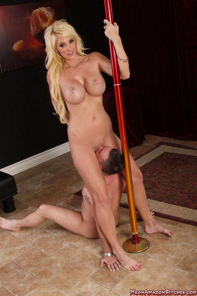 Picture #2 of Pole dancer is seducing a guy with her big boobs, tasty pussy and sexy feet he heeds to worship