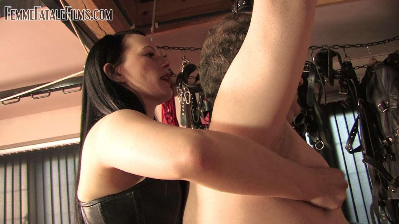 Picture #4 of It is nice and exciting for a man to feel his ass getting slapped and back whipped by naughty redhead while he is nude, handcuffed and helpless