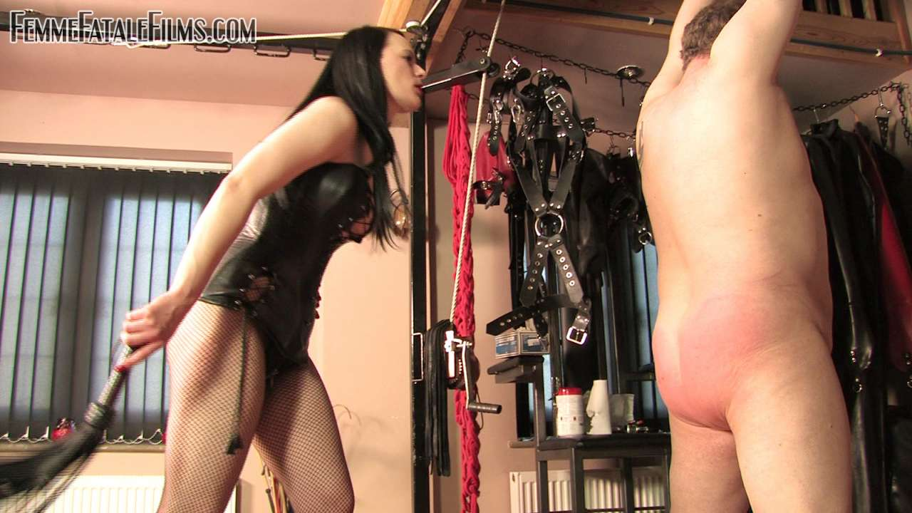 Picture #6 of It is nice and exciting for a man to feel his ass getting slapped and back whipped by naughty redhead while he is nude, handcuffed and helpless
